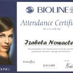 Certyfikat profesjonalnego masażu ciała i twarzy Bioline