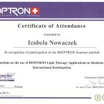 Certyfikat terapii przy użyciu światła Bioptron